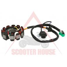 Статор -EU- GY6 125-150 - 11 бобини,  5 кабела