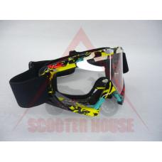Очила -EU- мотокрос шарени, прозрачен визьор, модел 3616