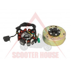 Магнет и статор к-т -EU- GY6 125-150cc, 11 бобини, 5 кабела