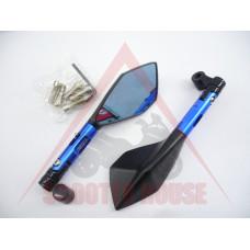Огледала к-т -EU- болт-10mm и 8mm RACING STYLE рамо-95mm сини