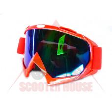 Очила  -EU- мотокрос A23 червена рамка, огледален визьор