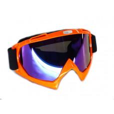 Очила  -EU- мотокрос A23 оранжева рамка, огледален визьор