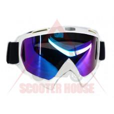 Очила  -EU- мотокрос A23 бяла рамка, огледален визьор
