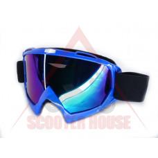 Очила  -EU- мотокрос A23 синя рамка, огледален визьор