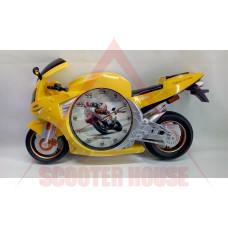 Часовник стенен - пистов мотор жълт