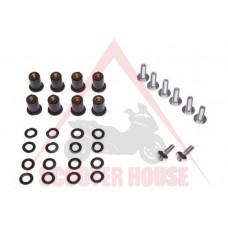 Болтове за предпазно стъкло -WM- за слюда, сребристи, M5x0.8, дължина 14mm, 8 броя, комплект с гайки и шайби
