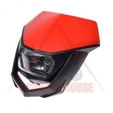 Маска с фар -EU- универсална за мотокрос, червена-черна, код.5201