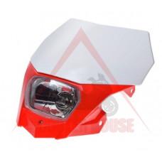 Маска с фар -EU- универсална за мотокрос, червена-бяла, код.5204