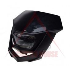 Маска с фар -EU- универсална за мотокрос, черна, код.5205
