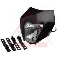 Маска с фар -EU- универсална за мотокрос, черна, код.5206