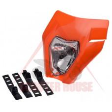 Маска с фар -EU- универсална за мотокрос, оранжева, код.5207