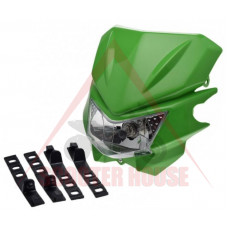 Маска с фар -EU- универсална за мотокрос, зелена код.5208