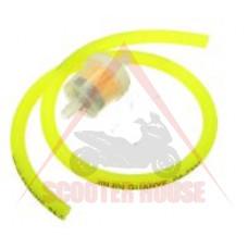 Горивен маркуч -PL- с филтър Ф вътрешен= 5mm, Ф външен = 8mm, дължина= 1000mm, жълт